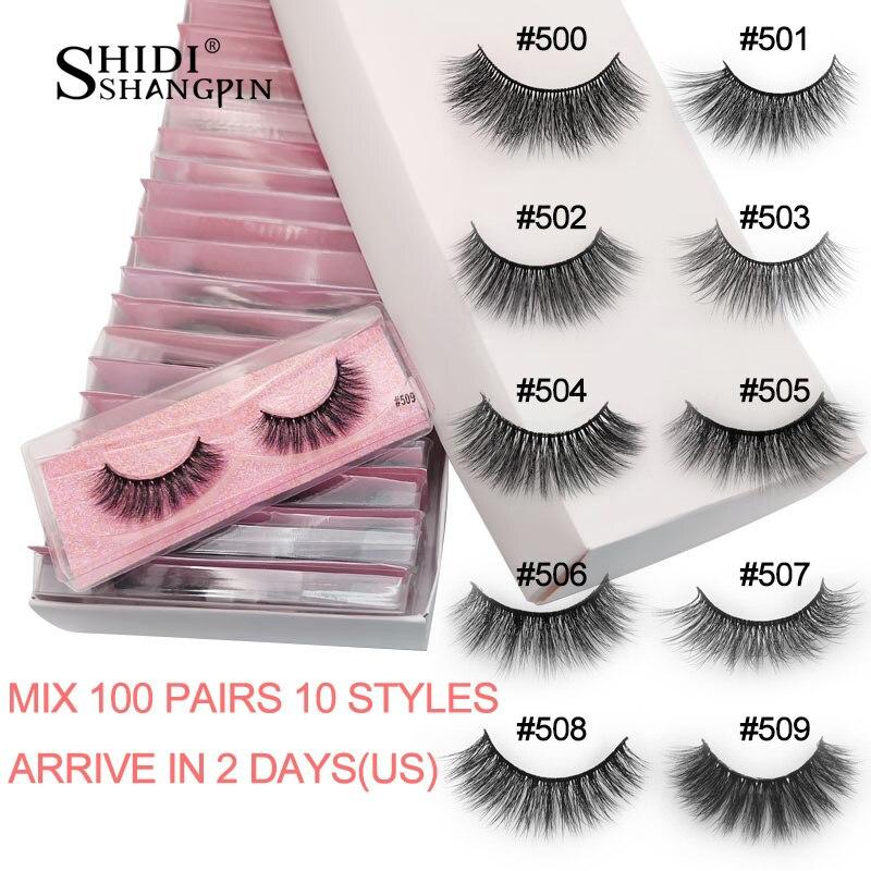 SHIDISHANGPIN 20/30/40/50/100 Pairs Bulk Lashes Wholesale Natural Long False Eyelash Extension 3d Mink Eyelashes Fluffy Makeup