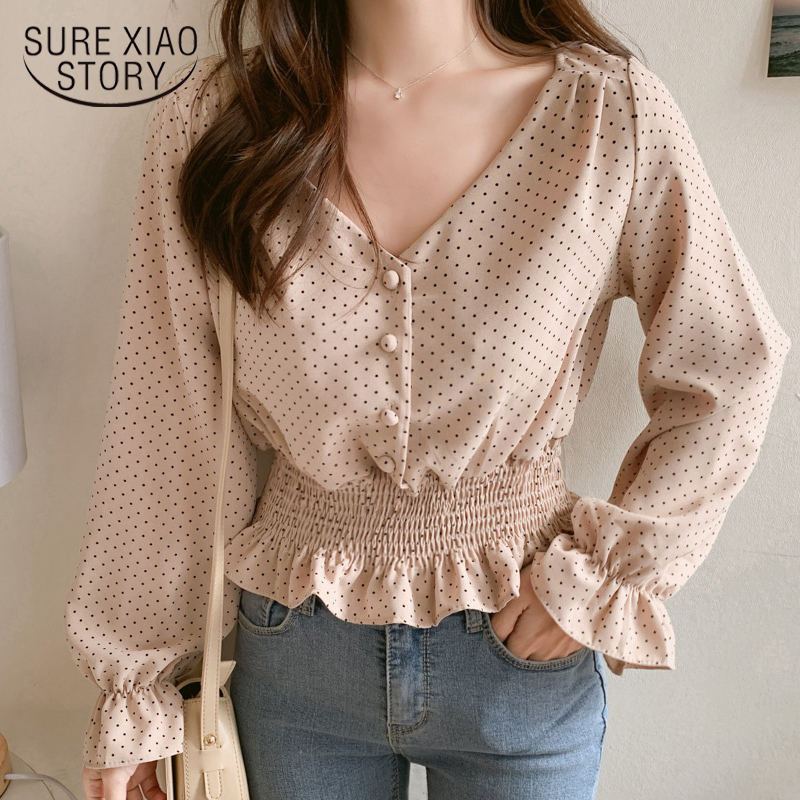 Vintage V-neck Flare Sleeve Polka Dot Women Blouse Shirts Elegant Front Buttons Slim Waist Ruffles Female Blouse Blusas 6602 50