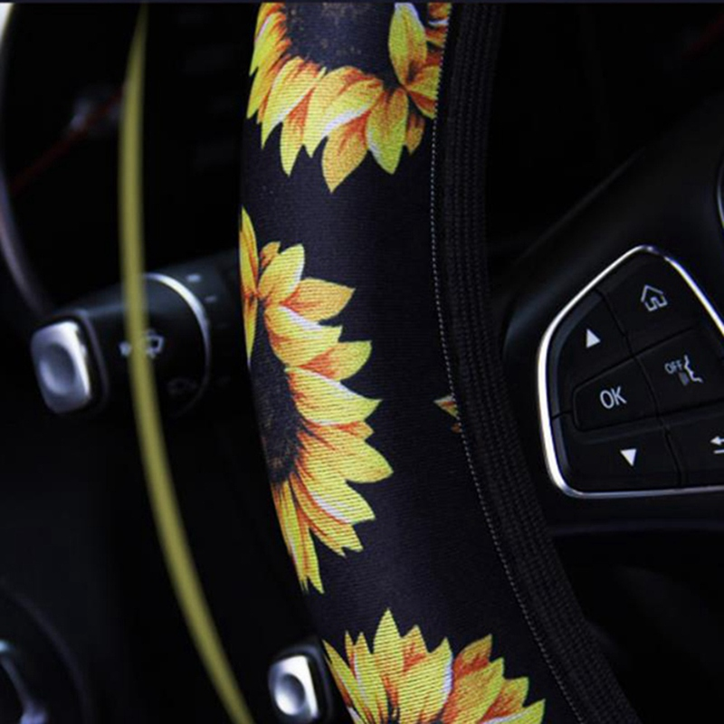 Steering-Wheel-Cover Car-Decoration Sunflower-Printed Anti-Slip Soft Wear-Resistant Easy-Install title=