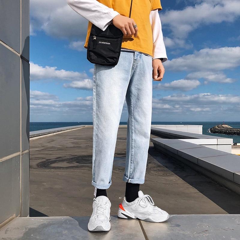 Four Seasons INS Pants Men's Korean-style Trend Straight-Cut Jeans Men Loose-Fit Wide-Leg Light Color Casual Wind Capri Pants