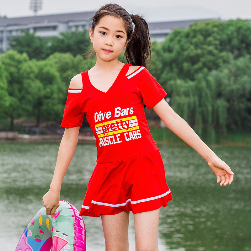 New Style Big Kid One-piece Swimming Suit-Style Europe And America Printed Letter GIRL'S Swimsuit KID'S Swimwear Tour Bathing Su