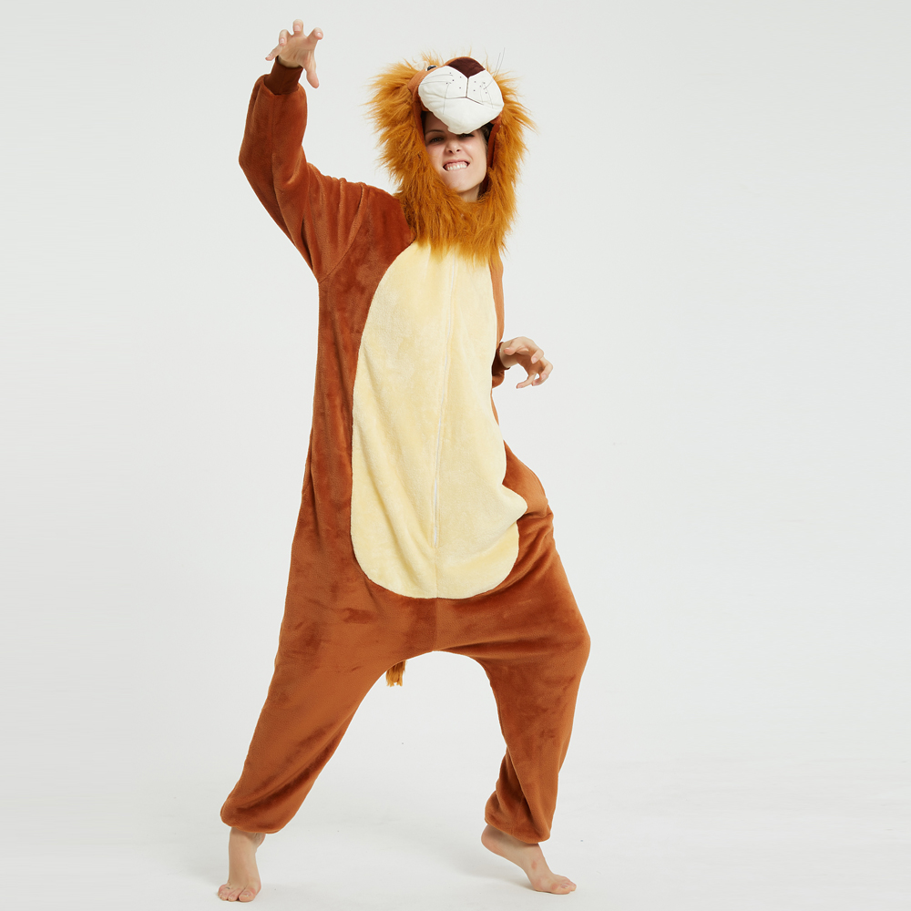 Lion King Unisex Adult Animal Pajamas Onesies Cosplay Cartoon Adult One-piece Sleepwear Pajamas Halloween Christmas Costume