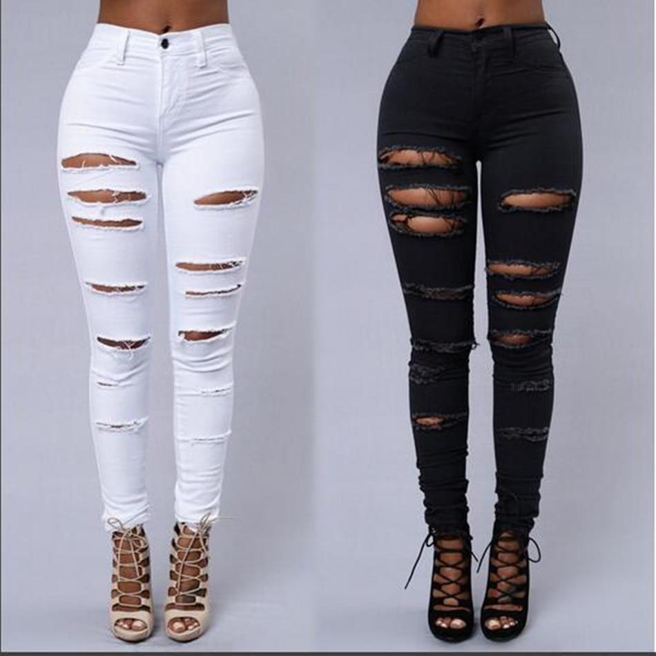 Pantalones Vaqueros Ajustados Con Agujeros De Rodilla Para Mujer Pitillos Rasgados De Cintura Alta Elasticos Color Blanco Y Negro Pantalones Vaqueros Aliexpress