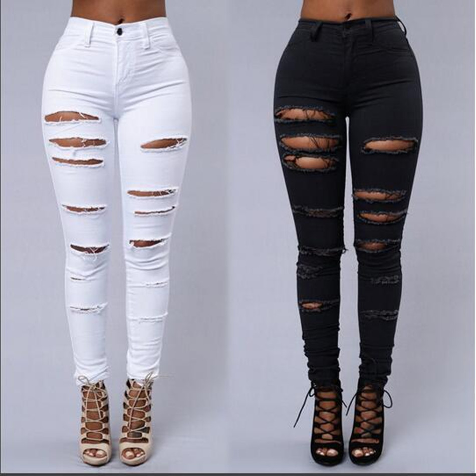 Skinny Jeans Women Denim Knee Holes Ripped Pencil Pants High Waist Trousers Female Black White Stretch Cloth-Fitting Jens Mujer