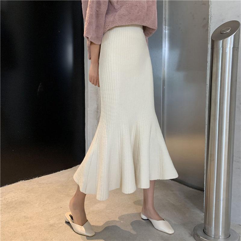 Women's Autumn Winter Knitted Long Skirt 2019 New High Waist Knitted Mermaid Skirt Solid Hip Skirt Ruffled Knit Long Skirt ML276