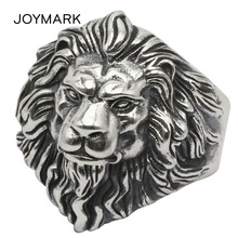 Domineering Thai Silver Lion Head Open Ring Personality Male Finger Rings Real 925 Sterling Silver Fashion Jewelry TSR113