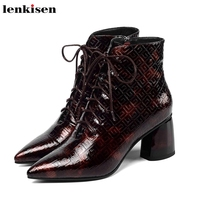 Lenkisen print genuine leather office lady lace up pointed toe high heels dress mature women winter keep warm ankle boots L99