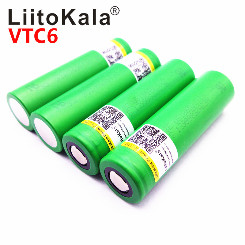 Hot  Liitokala VTC6 3.7V 3000mAh Rechargeable Li-ion Battery 18650 US18650VTC6 30A High Power Battery Tools Flashligh