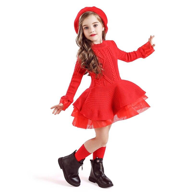 H35d5ee8fca564aab8544871044c1efbaV Xmas Winter Autumn Girl Dress Children Clothes Kids Dresses For Girls Party Dress Long Sleeve Knitted Sweater Toddler Girl Dress