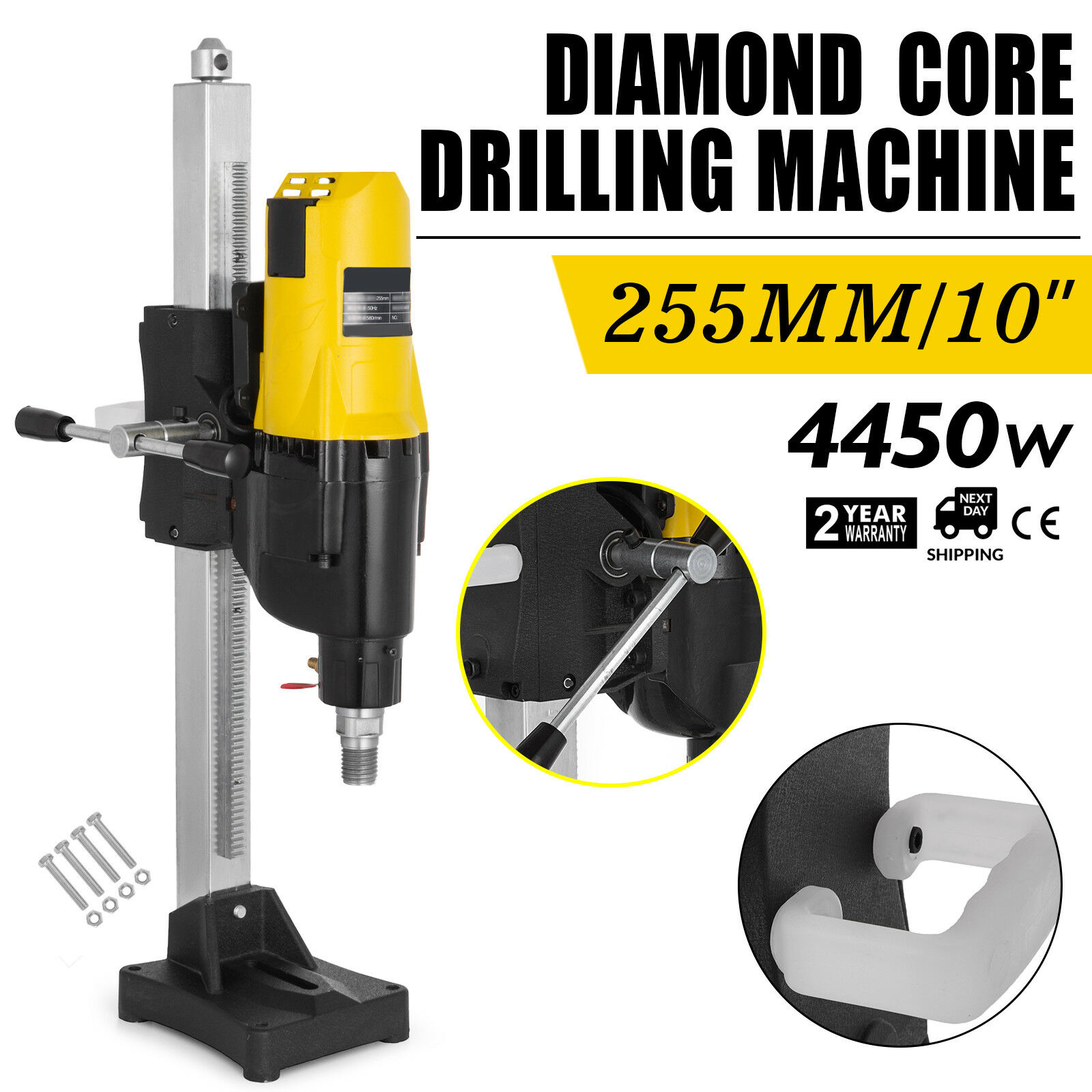 Perceuse à carottage diamant à vitesse Variable humide/sèche Ø 255mm avec support 4450w