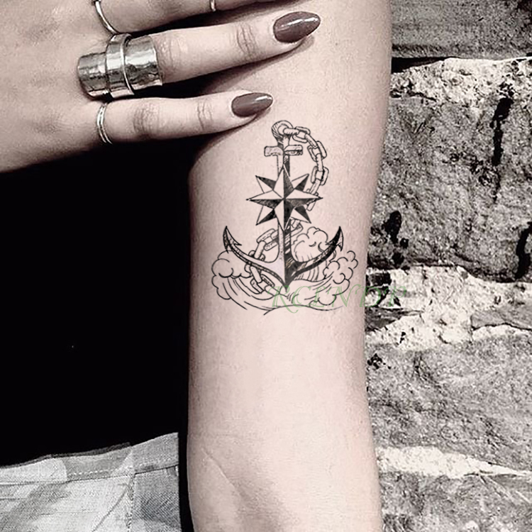Waterproof Temporary Tattoo Sticker Marine Pirate Anchor Fake Tatto Flash Tatoo Tatouage Wrist Foot Hand Arm For Girl Women Men