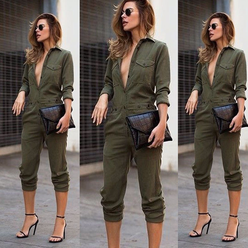 Hot Sale Sexy Ladies Vintage Romper Long Pants Women Slim Bodycon Jumpsuit Long Sleeve Army Green Solid Casual Cargo Pants
