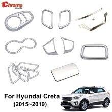 Dla Hyundai IX25 Creta 2015 2016 2017 2018 Chrome wewnętrznego drzwiowego kubek z uchwytem uchwyt wykończenia dekoracyjne pokrycie akcesoria Car Styling