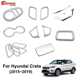 For Hyundai Creta IX25 2015 2016 2017 2018 Chrome Interior Door Handle Cup Holder Trim Cover Decoration Accessories Car Styling