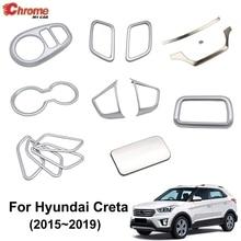 สำหรับHyundai Creta IX25 2015 2016 2017 2018 Chromeภายในประตูมือจับฝาครอบถ้วยอุปกรณ์ตกแต่งรถจัดแต่งทรงผม