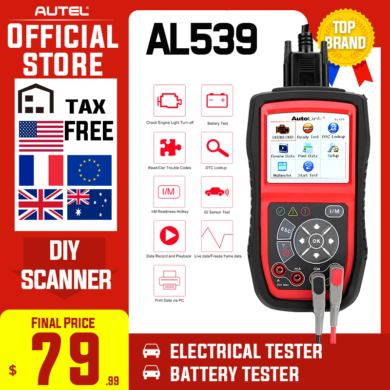 Advanced version of the AL319 OBD2 Scanner Engine Fault CAN Scan Tool with Patented One-Click I//M /& AutoVin Autel AL329 Code Reader With Case