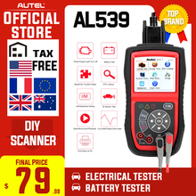 Autel AutoLink AL539 OBDII Electrical Test Tool Auto AL 539 OBD2 Scanner Internet Update Voltage Circuit Start Tester PK AL539B