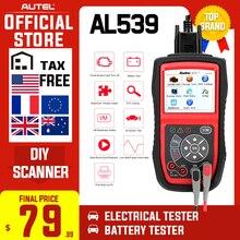 Autel autolink al539 obdii ferramenta de teste elétrico auto al 539 obd2 scanner internet atualização tensão começo circuito testador pk al539b