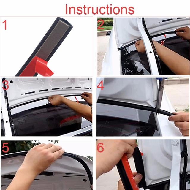 10Pcs Car Door Seal Strip Kit Soundproof Noise Insulation Weather Strip Sealing For Tesla Model 3 Exterior Accessories 4