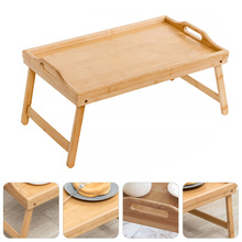 Simple Foldable Bamboo Desk Bed Laptop Stand Table Breakfast Serving Tray