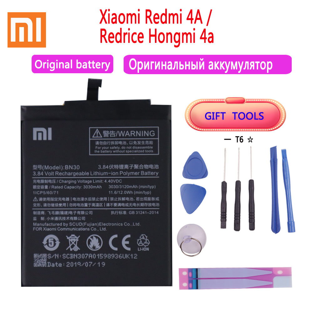 100% Original Battery BN30 ForXiaomi Redmi 4A Redrice Hongmi 4A Lithium Polymer Replacement Bateria Free Repair Tools
