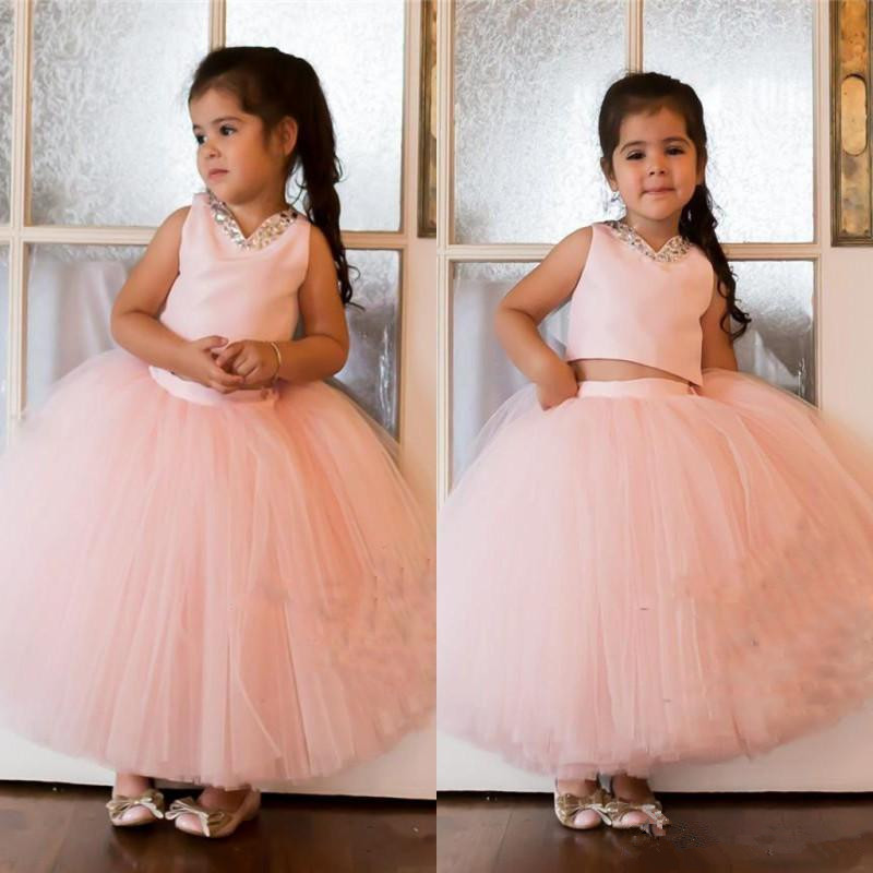 Blush Pink Two Pieces Flower Girls Dresses For Weddings Beaded Sequins Girls Pageant Dress Ankle Length First Communion Dresses