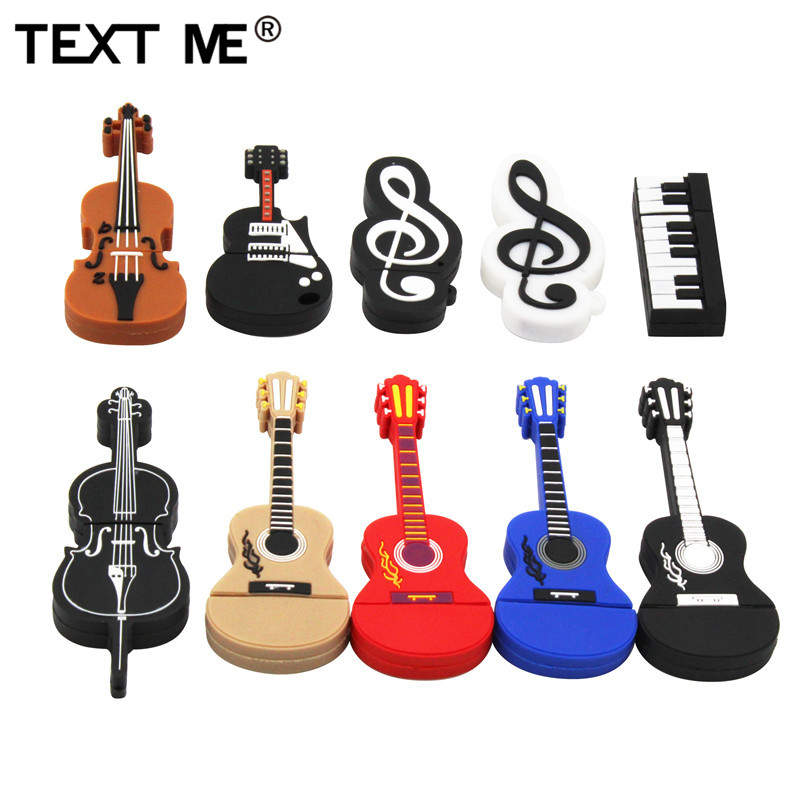 TEXT ME Cartoon  Usb 2.0 Musical Instrument Piano Guitar Note Violin 64GB USB Flash Drive Pen Drive 4GB 8GB 16GB 32GB U Disk