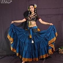 Племенные юбки для танца живота АТС производительность хлопок юбка в стиле фламенко хлопок длинный полный круговая юбка Цыганский танец CWW02
