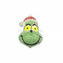 New  !  51mm*36mm   10pcs/lot  Grinch With Christmas Hat  Full Rhinestone Pendants For Christmas Jewelry Making