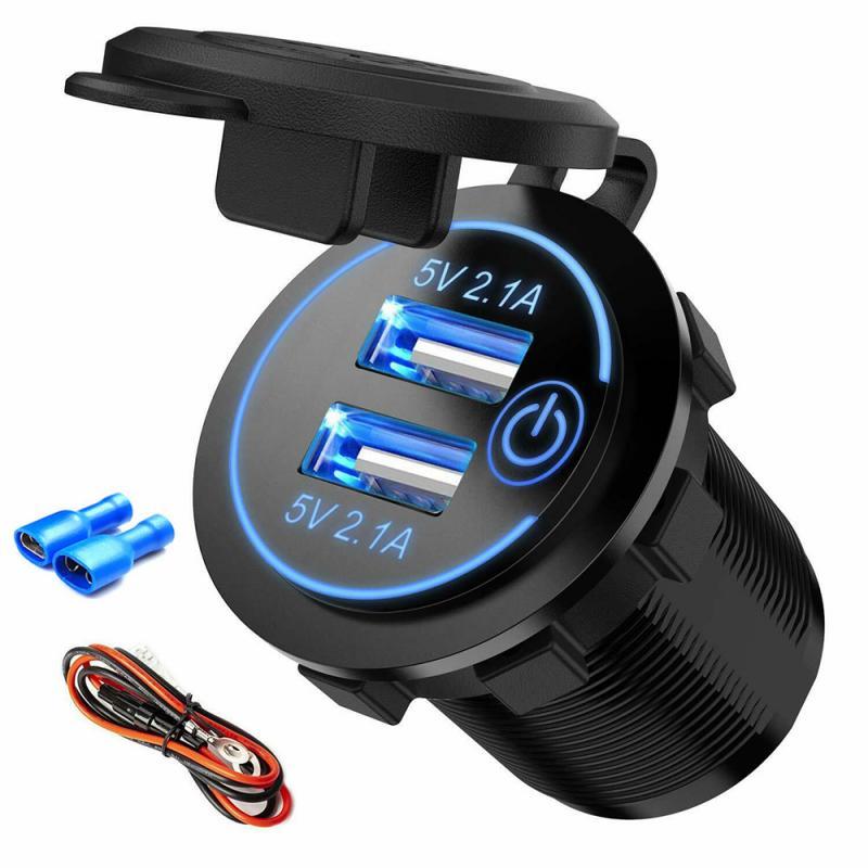 Double USB voiture Charge Port de chargement rapide USB 12-24V voiture prise allume-cigare pour voiture USB chargeur adaptateur secteur