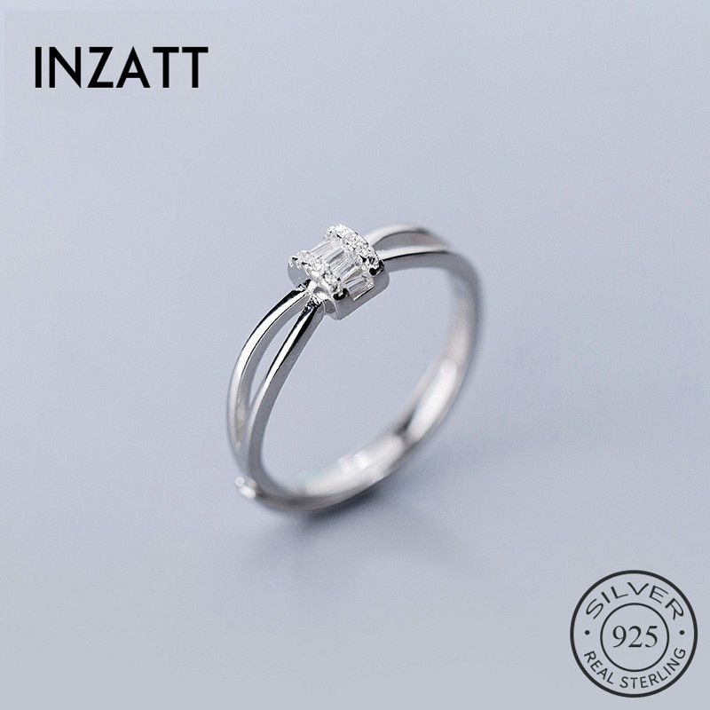 INZATT Real 925 Sterling Silver Zircon Opening Ring For Fashion Women Party Cute Fine Jewelry Minimalist Accessories 2019 Gift