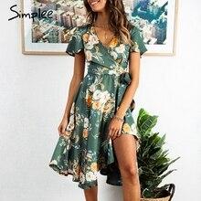 Simplee, vestido elegante de satén con estampado floral para mujer, vestidos veraniegos de cintura alta con cuello en v, lazo sexi, verde, informal, vestidos femeninos