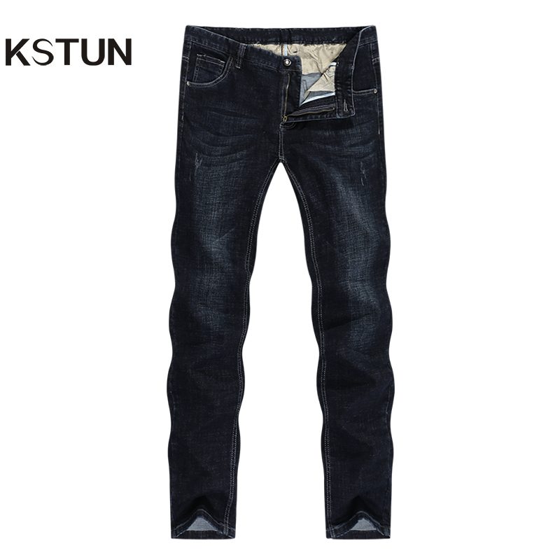 KSTUN Black Jeans Men Winter Classic Jeans Man Straight Business Casaul Stretch Regular Fit Men's Clothing  Full Length Trousers