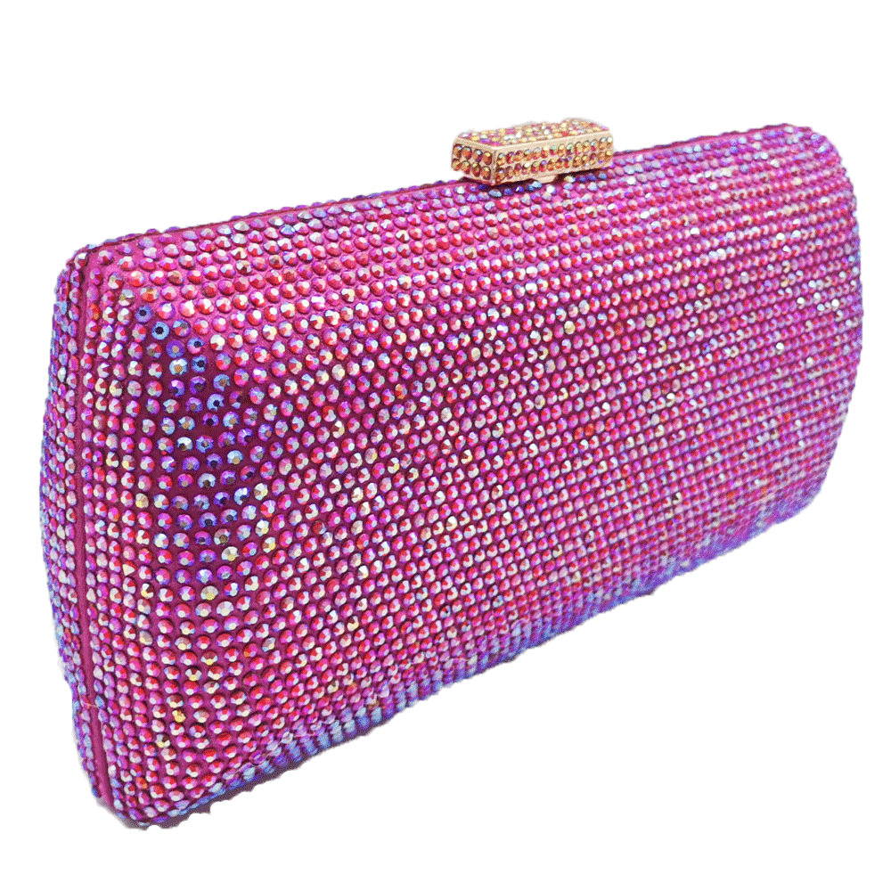 Image 2 - Boutique De FGG Bling Women Fuchsia Evening Bags and Clutches Ladies Small Crystal Purses and Handbags Wedding Party DInner Bag    -