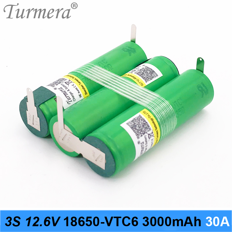 18650 3S 12.6V 4S 16.8V 5S 21V 6S 25V Battery Pack US18650VTC6 3000mah Battery 30A for Shurika Screwdriver Battery (Customize) image