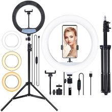 FOSOTO 12inch 30CM  Photography LED Selfie Ring Light USB Port Dimmable Lamp  with 1.6m Tripod For Makeup Studio Phone Live