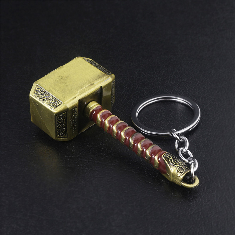 Купить с кэшбэком Thor Hammer Metal Keychain Men Women Car Keyring Movie Fans Accessories