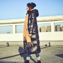Down jacket women thick long hooded glossy Korean version of the tide over knee super white duck down high quality war