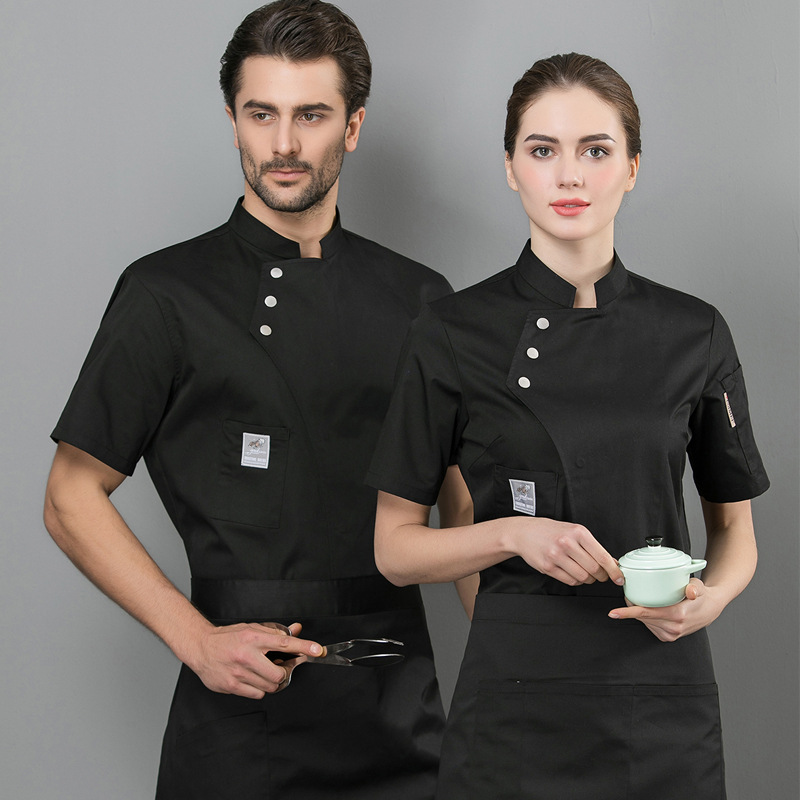 Chef Work Clothes MEN'S Short Sleeve Summer Hotel Dining Service Bakery After Kitchen Western Restaurant Chef Clothes Thin Breat