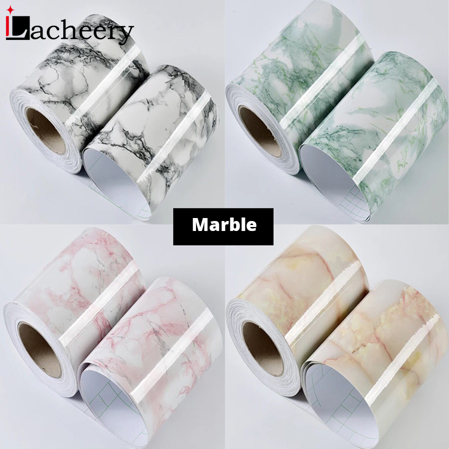 Living Room Decor Baseboard PVC Self Adhesive Windowsill Film Waterproof Renovation Stickers Marble Waist Line Wallpaper Borders