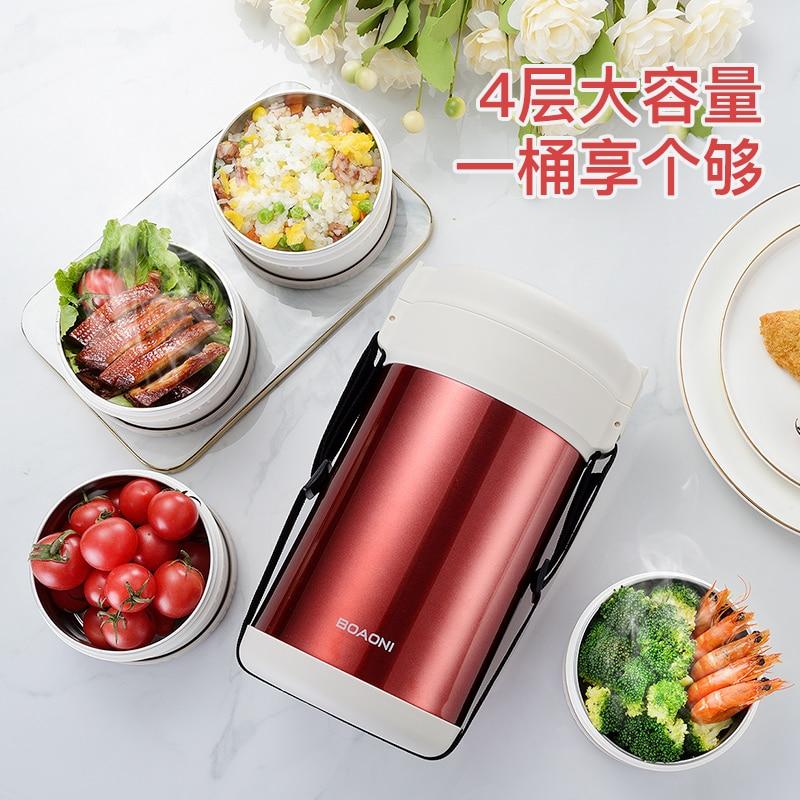 BOAONI 2000 мл пищевой Ланч бокс из нержавеющей стали контейнер для горячего супа вакуумная колба термос изолированный кухонный школьный Ланч бокс es