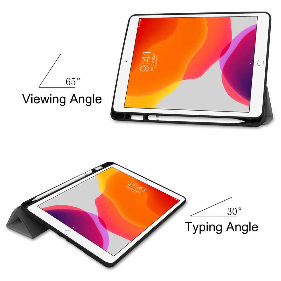 "Para iPad 7 ° 10,2 ""funda 2019 A2198 con soporte para lápiz funda para iPad 10,2 funda Auto Sleep/Wake + Protector de pantalla + pluma"