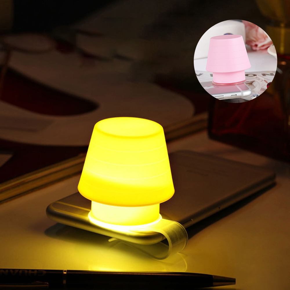 Creative Gift Silicone Mobile Phone Bracket Night Light Lampshade Multi-function Bookmark Bedroom Bedside LED Small Table Lamp