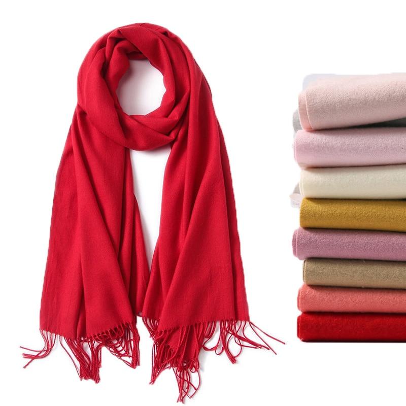 2019 Luxury Brand Soild Cashmere Women Scarf Winter Warm Shawl And Wraps Bandana Pashmina Soft Long Female Foulard Thick Blanket