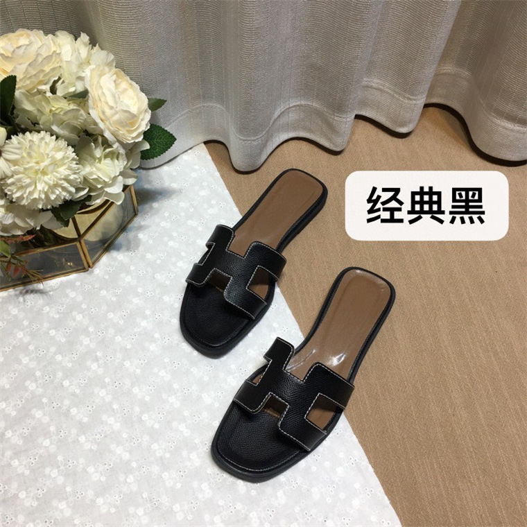 2021 New Famous Designer Brand Slippers High Quality Flip Flops Genuine Leather Sandals Women Fashion Flats Shoes Ladies Slipper