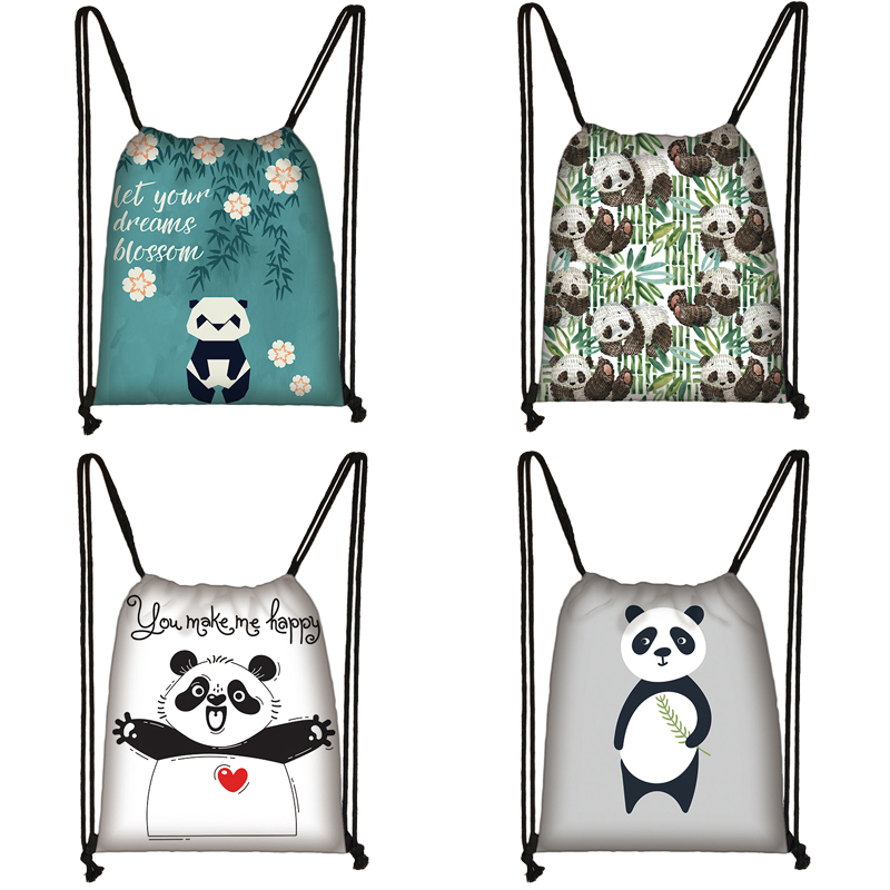 Cartoon Panda Print Drawstring Bag Women Travel Bag Teenager School Bag Brown Girl And Boy Backpack Fashion Female Storage Bag B