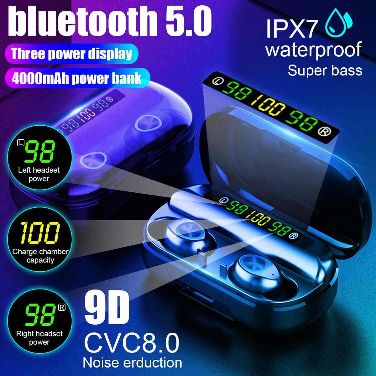 Tws 4000 MAh V5.0 Bluetooth Stereo Nirkabel Earphone Tahan Air Earbud dengan 3 LED Display Sport Headset Nirkabel