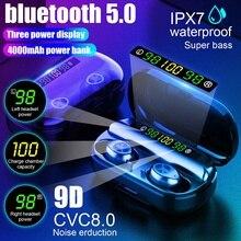 TWS 4000mAh v5.0 bluetooth Stereo Wireless Earphones Waterproof Earbuds With 3 L