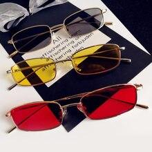 1 pçs unisex pequeno retro tons retângulo óculos de sol colorido uv400 armação de metal lente clara óculos de sol