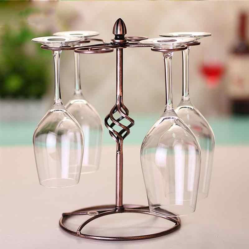 Besi Tempa Gelas Anggur Pemegang Retro Piala Rak Rumah Tangga Rak Display Meja Stemware Rack untuk Kabinet Rumah Bar
